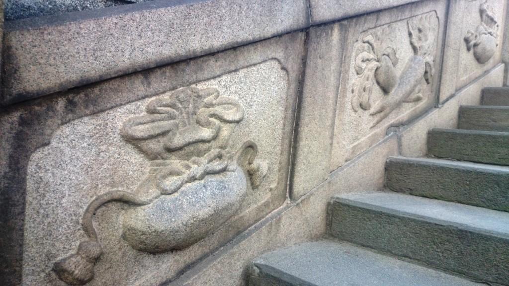 階段の大根と巾着